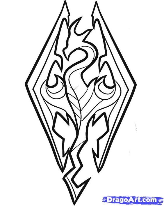 skyrim coloring pages Skyrim Logo Drawing Sketch Coloring Page | Dragons and Co  skyrim coloring pages