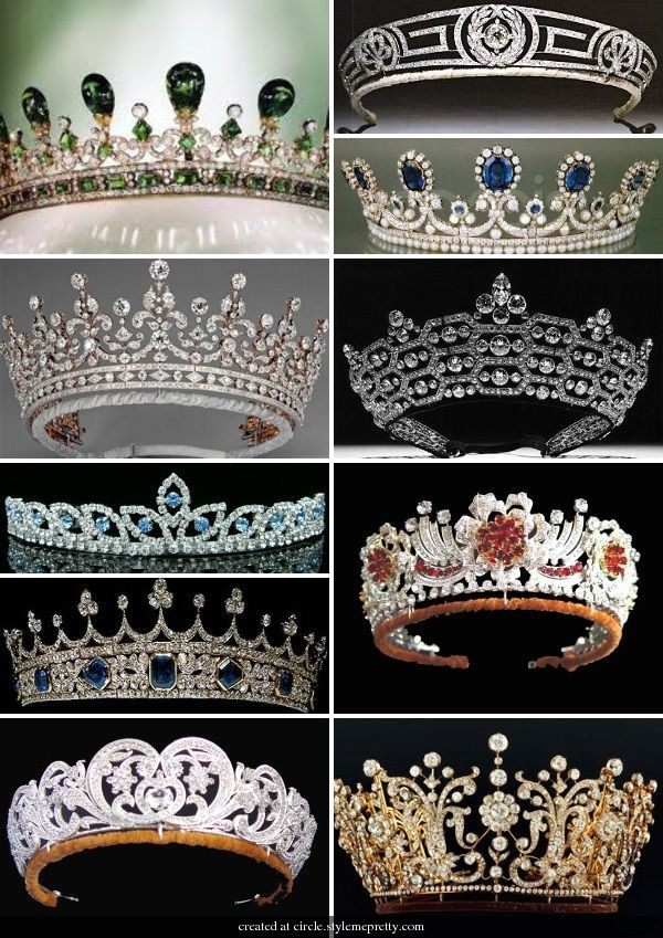 Royal Tiaras - except for the middle one on the left side,which most certainly is not real and not regal.