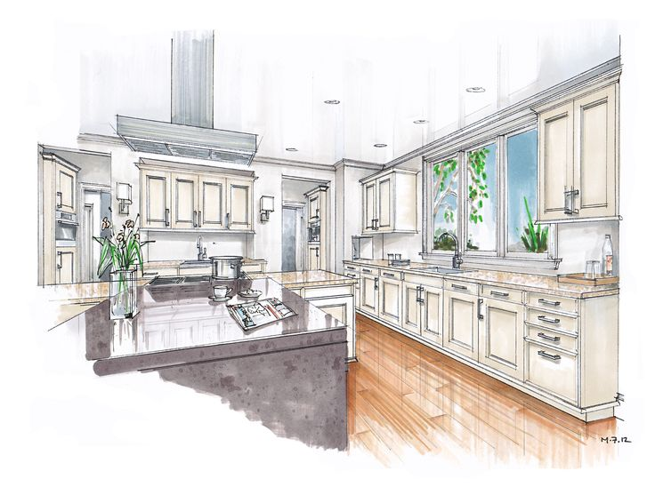 Sketch Drawing Of A Kitchen With Island Google Search Sketches Pinterest Perspective