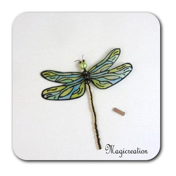 MAGNET LIBELLULE TRANSPARENTES BLEU VERT-DEMOISELLE - Boutique www.magicreation.fr
