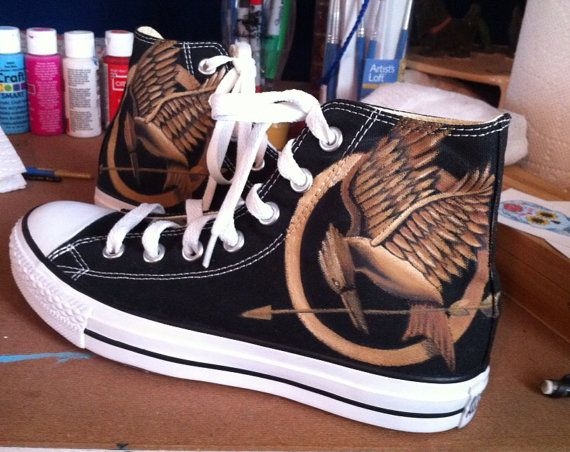 Hunger Games Custom Painted Converse Shoes on Etsy, $110.00
