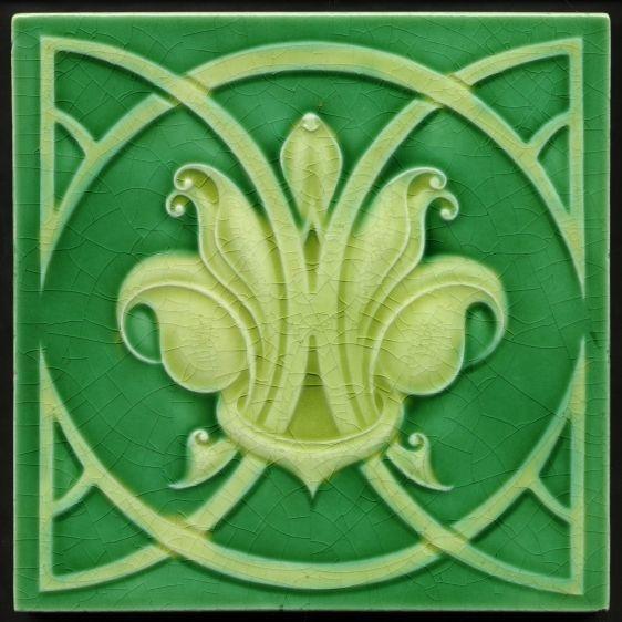 TH2880 Rare Art Nouveau Majolica Tile Near Perfect Richards c.1908 in Antiques…