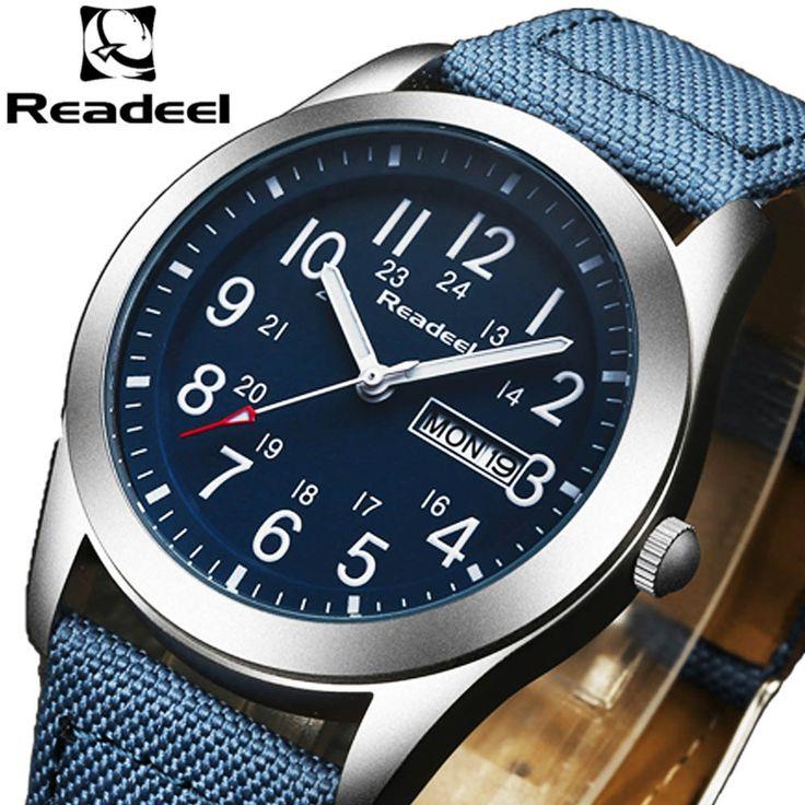 Readeel Sport Watches Men Luxury Brand Nylon Strap Men Army Military Wristwatches Clock Male Quartz Watch Relogio Masculino