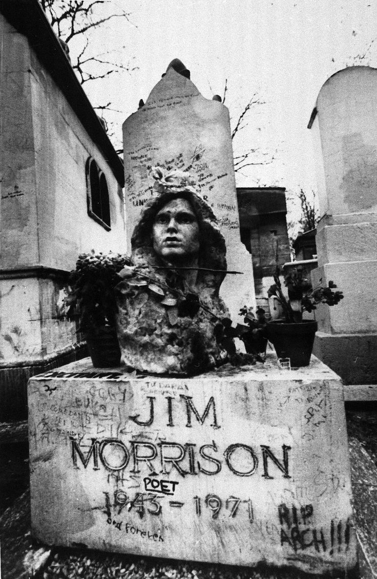 Jim Morrison's grave in Paris/My cousin Liz has the coolest photograph that she took of his grave while in Paris,in the early 1980ies. It is Poster size,Black and White,and a beautiful work of Art. Especially cool because his grave does not exist anymore,as it once was because of people and their abuse of it! She has a beautiful documentation of history,because the drawing someone did on the grave was quite amazing,as this photo is not his original gravestone!....S.