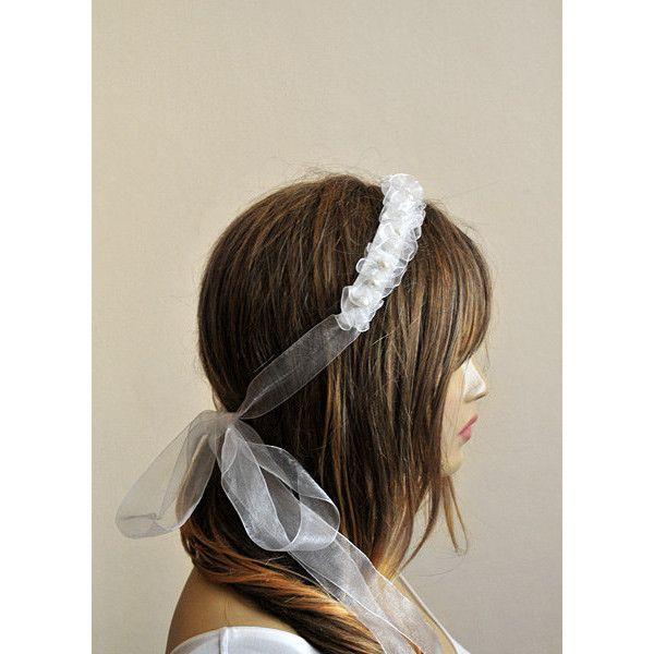 wedding ribbon headband organze bridal headband etsy by selenayy ($39) found on Polyvore