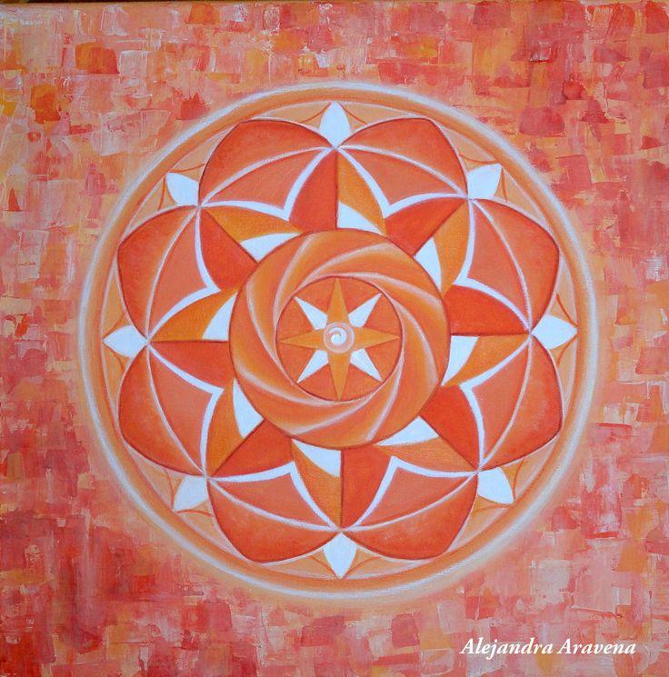 Mandala monocromía naranja, acrílicos con pincel y espátula sobre bastidor de 40 x 40 cm. Autor: Alejandra Aravena