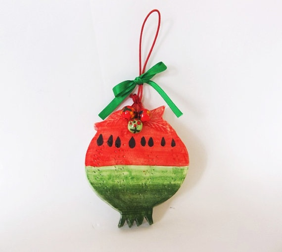 Watermelon ceramic pomegranate lucky charm by IoannasVeryCHic, $15.00