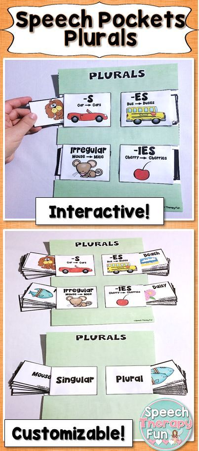 Speech pockets are a perfect way for your students to work on plurals such as add -s, Add -es, Add -ies & irregular plurals!
