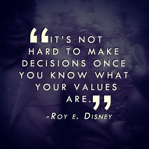 """""""It's not hard to make decisions once you know what your values are."""" - Roy E. Disney"""