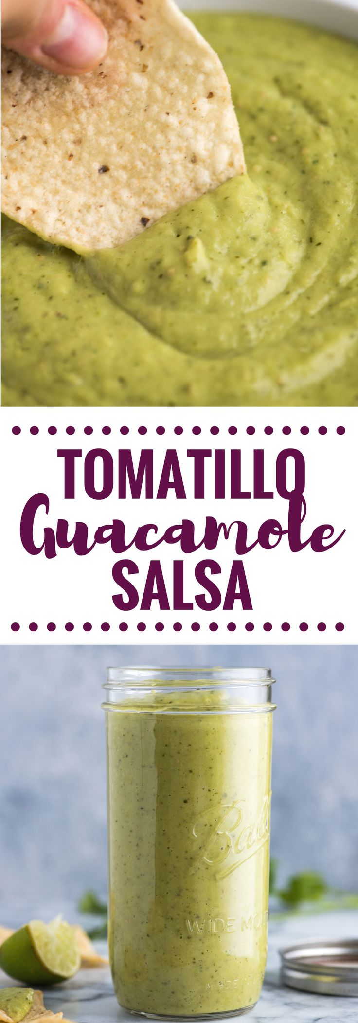 This Tomatillo Guacamole Salsa combines salsa verde and guacamole to create an addicting appetizer and salsa! Is also gluten free, dairy free, paleo and vegan.