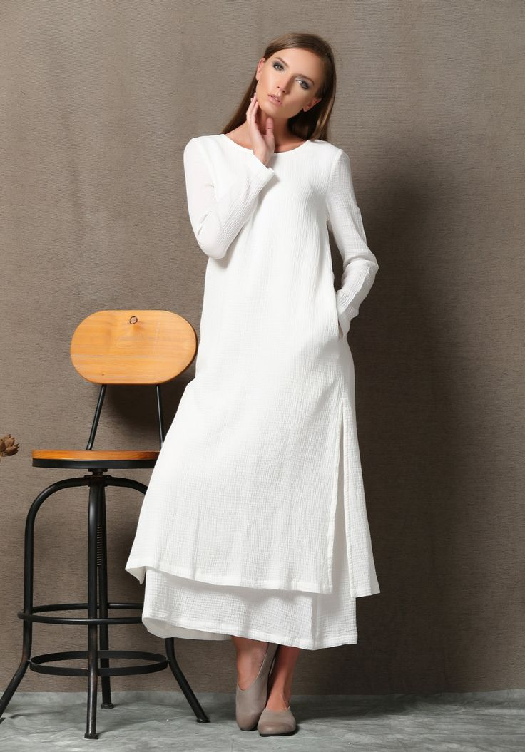 White Linen Dress - Layered Loose-Fitting Plus Size Casual Comfortable Long Sleeve Handmade Clothing C554 by YL1dress on Etsy