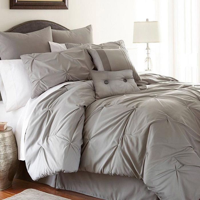 8 Piece Lydia Comforter Set In Gray Plush Neutrals On
