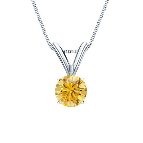 Diamantanhänger Solitär 0.25 Karat gelber Diamant 14K Weißgold für nur 999 Euro #diamantanhaenger #weissgold #gelbgold #rosegold #gelber_diamant #schmuck #kette #collier #juwelier #abt #dortmund #karat