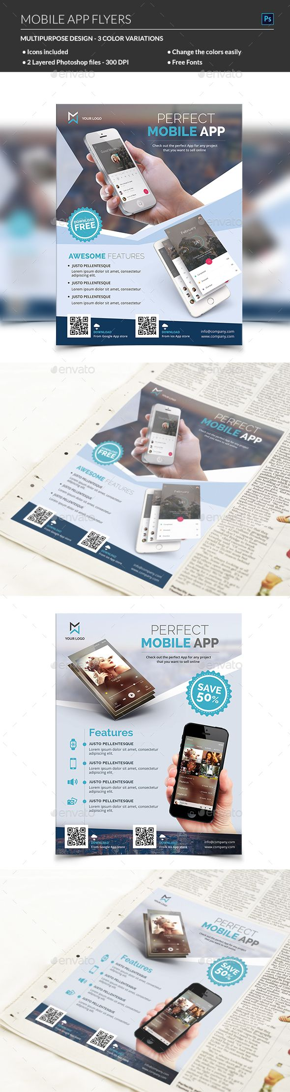 Mobile App Flyer Mobile Application Promotion Flyer Template. This Mobile app flyer is perfectly suitable for promoting your mobile application, android app, ios app or any other application software. You can also use this template in any multipurpose print advertising campaign like newspaper ad or magazine ad.