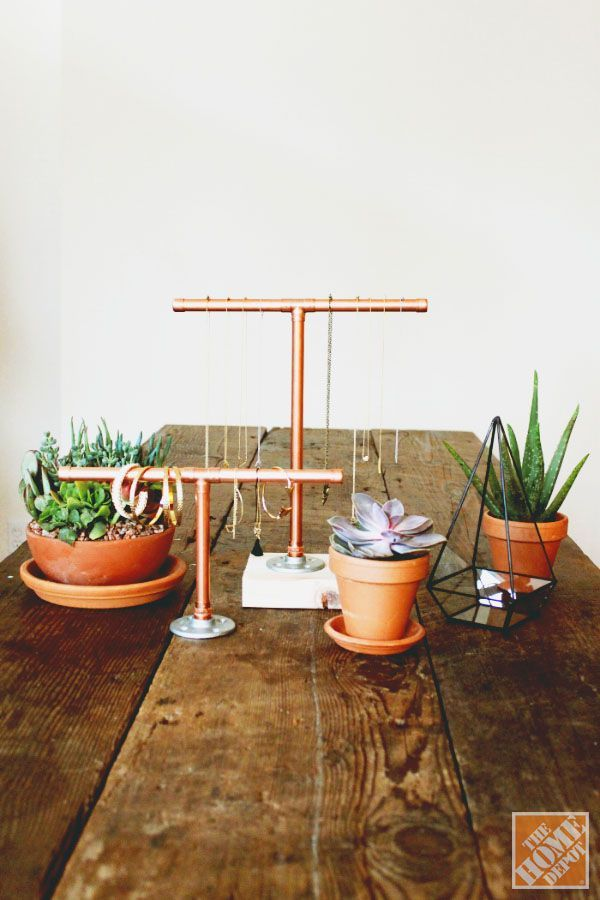 Copper Pipe Jewelry Stand from Home Depot | Francois et Moi
