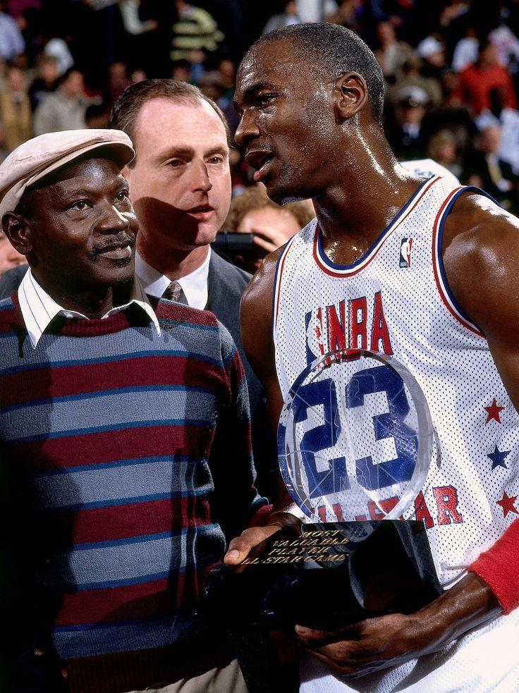 MVP Michael Jordan with his Dad, James Jordan at 1988 All Star Game. #throwbackjordan
