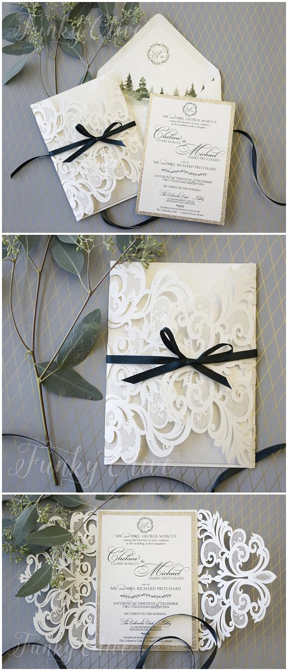 how much do invitations for wedding cost%0A Winter Wedding Invitation Laser Cut Invite Suite Greenery Gold  WatercolorTree Envelope Liner Sample or Deposit See