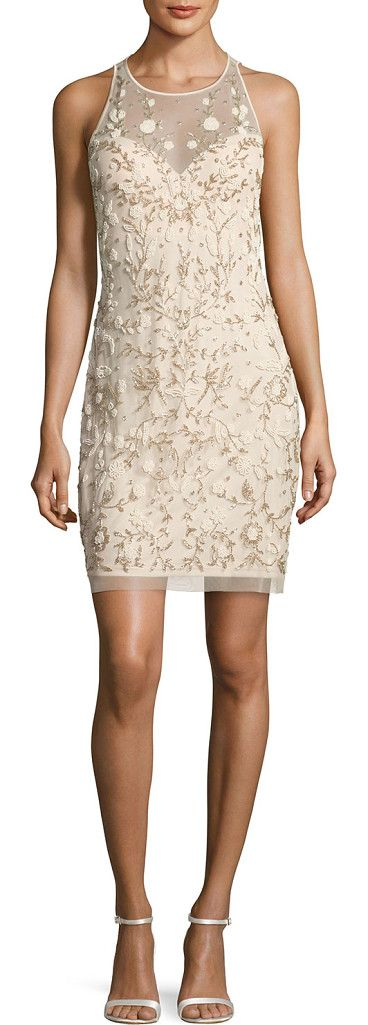 "On SALE at 26% OFF! Sleeveless Beaded Floral Sheath Dress by Aidan Mattox. Aidan Mattox mesh cocktail dress with floral beading. Approx. 35""L through center back. Round neckline with sweethear..."