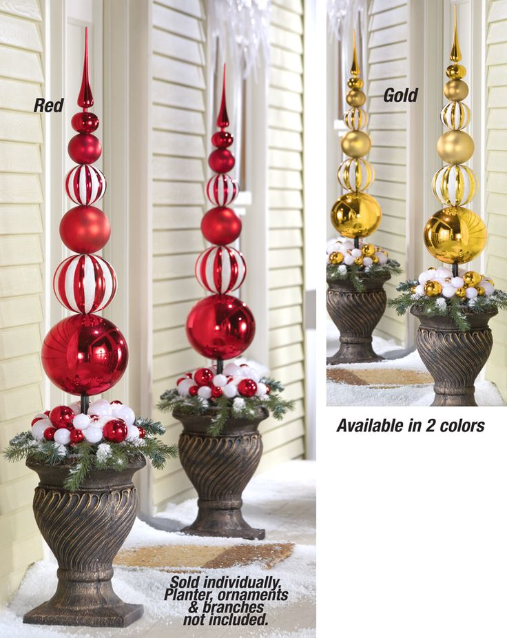 ** Drill Holes In Extra Large Plastic Christmas Ornaments, Then Slide The Ornaments Onto A Dowel And Secure To A Styrofoam Ball Inside A Planter, Decorate With Ribbon And Fake Snow. @collectionsEtc