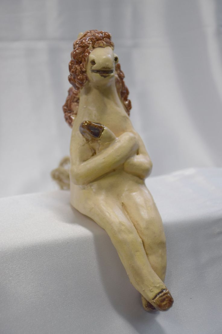 Sitting pottery horse, hand built sitting pottery horse, handcrafted horse of clay, handmade sitting pottery horse by CreationsbyAnjaCA on Etsy