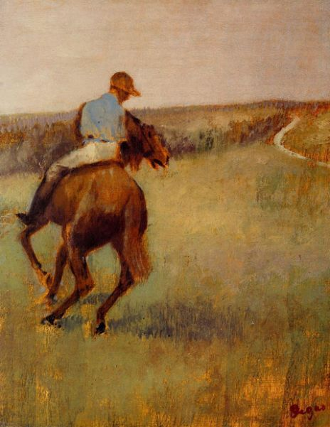 Edgar Degas, Jockey in Blue on a Chestnut Horse