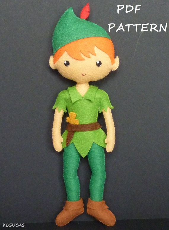 PDF sewing pater to make a felt Fairy and a felt Peter by Kosucas