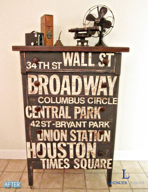 upcycle an old chest..stencil street names of your favorite city! : Paintings Furniture, Idea, Subway Signs, Nyc Subway, Subway Art, Old Dressers, Dressers Redo, Diy, Chest Of Drawers