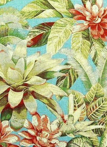 "Botanical Bliss Caribbean - Tommy Bahama fabric mulitpurpose decorator fabric, 100% Cotton. 27""V x 27""H , 54"" wide."