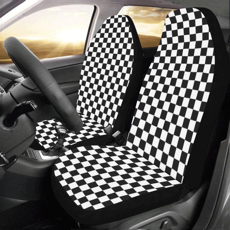 Checke red flag car seat covers 2 pc black white check