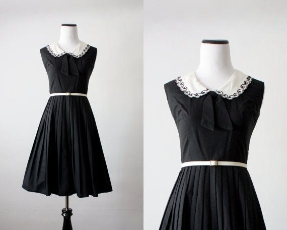 1950's dress  peter pan collar bow 50s dress by 1919vintage, $188.00