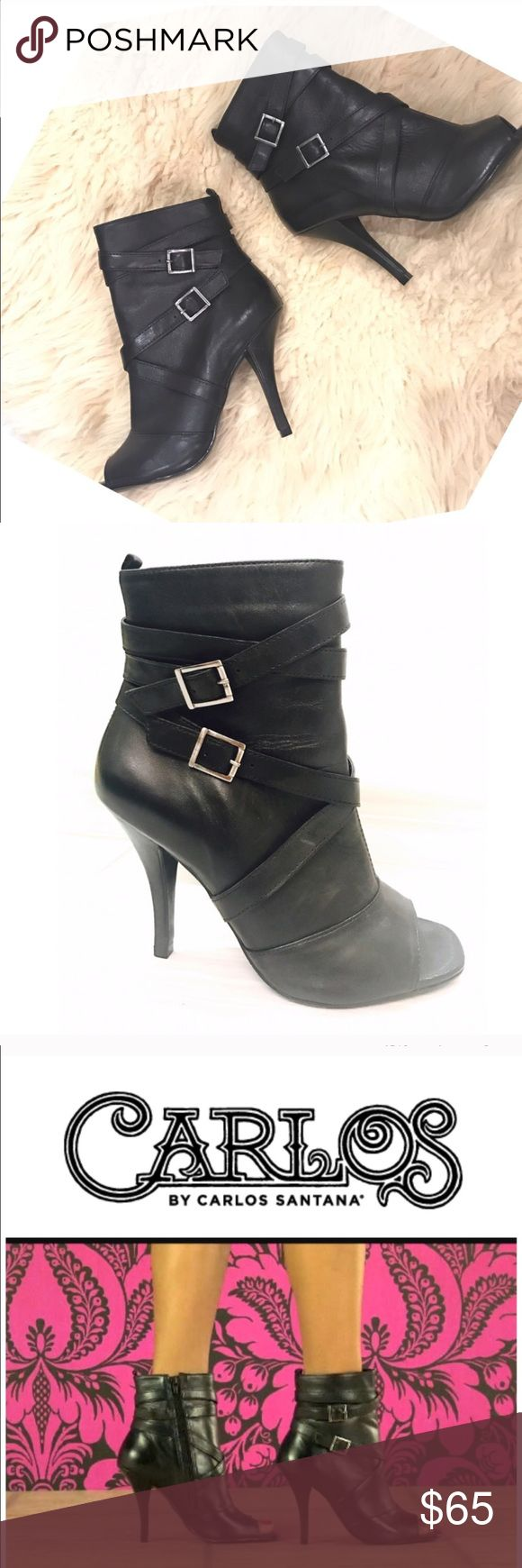 "Carlos Santana Bota  Leather Booties Ankle Boots Carlos Santana Bota Black Leather Booties Ankle Boots 6.5 medium 4"" heel,  straps , buckle accents. Peep toe. Carlos Santana Shoes Ankle Boots & Booties"