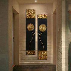 Pintados à mão pintura a óleo abstrata na lona da flor de ouro preto fundo arte da parede moda moderna pintura a óleo para sala de estar