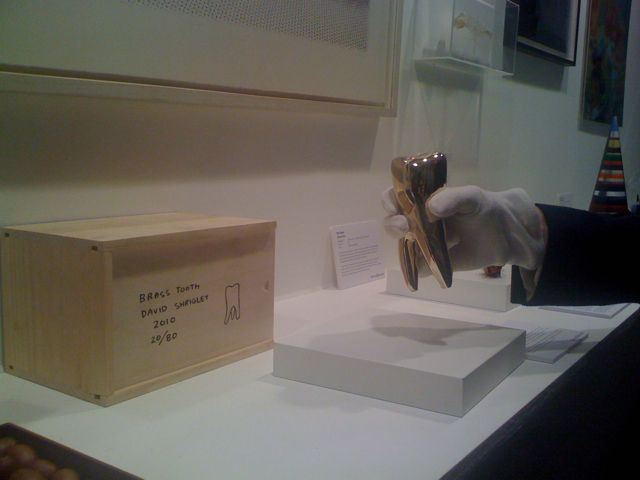 From our own The Multiple Store stand, most handled piece, David Shrigley's BRASS TOOTH http://www.themultiplestore.org/ #LAF2014