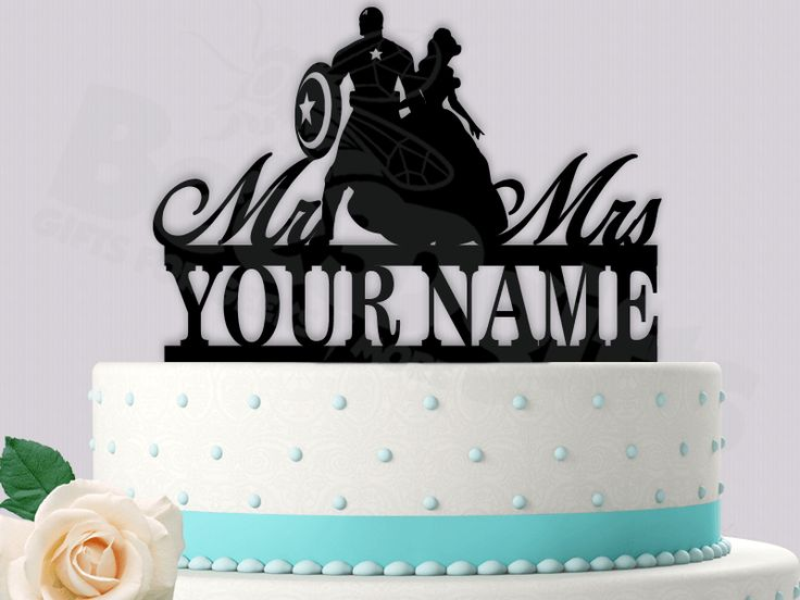 Captain America and Belle Personalized Superhero Fairy tale Event Wedding Cake Topper