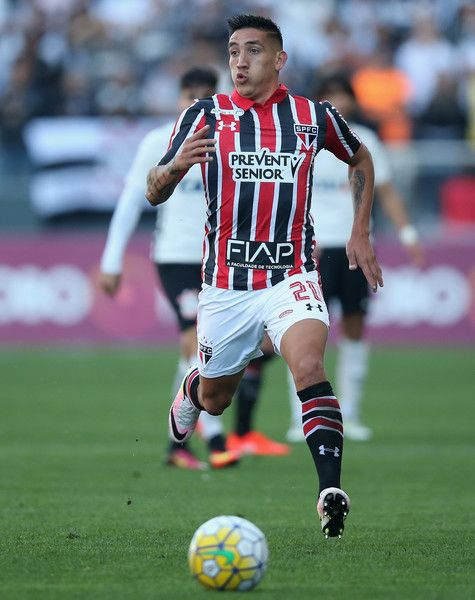 Centurion of Sao Paulo runs with the ball during the match between Corinthians and Sao Paulo for the Brazilian Series A 2016 at Arena Corinthians on July 17, 2016 in Sao Paulo, Brazil.
