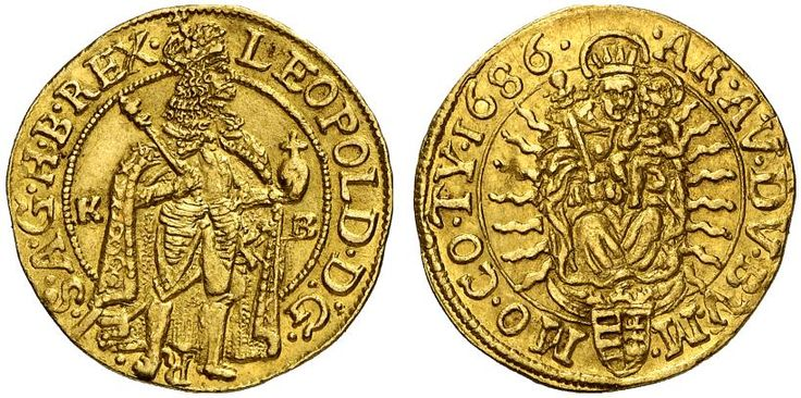 AV Goldgulden. Hungary Coins, Habsburg Rulers, Leopold I. 1657-1705. Kremnitz mint, 1686 KB. 3,47g. F 128. Nearly EF. Price realized 2011: 1.100 USD.