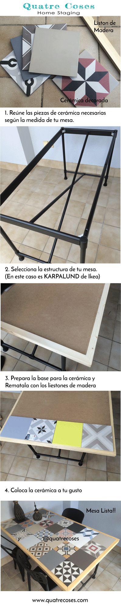 Mesa DIY con estructura metálica KARPALUND de Ikea, tablero de madera, baldosas cerámicas imitación al mosaico hidraulico y remates de madera.