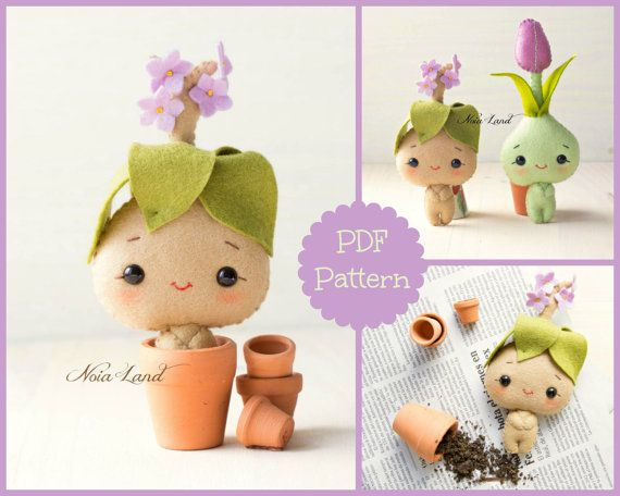 PDF Pattern. Bulb flowers: tulip and mandrake by Noialand on Etsy