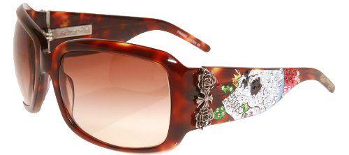 Ed Hardy Skull  Roses Sunglasses - Tortoise/Brown