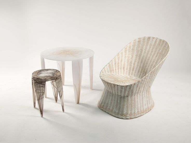 Wiktoria Szawiel 'fossilises' wood, rattan and wicker furniture in resin which is then sanded the reveal the pattern of the natural fibres hidden within.