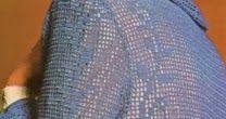 La giacca turchese , realizzata a filet , per l'estate un capo unico e originale da indossare per le uscite serali. M...
