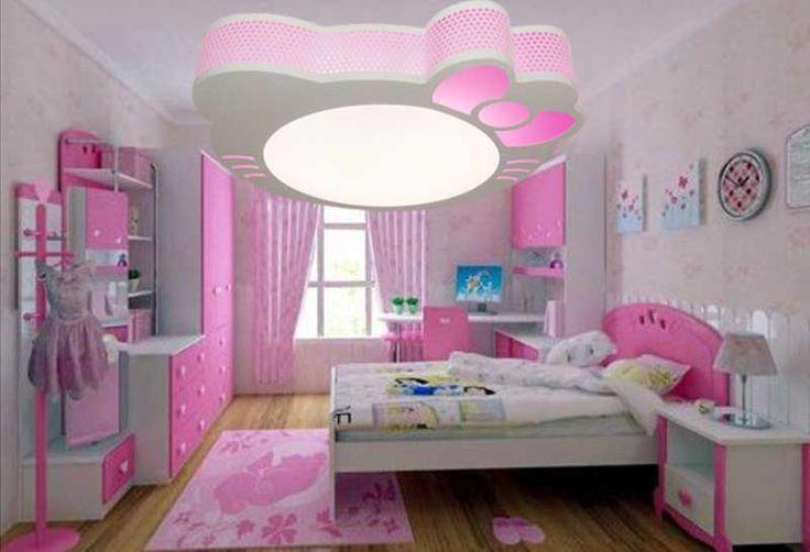 Plafonnier chambre fille installation avec idée papier peint ...