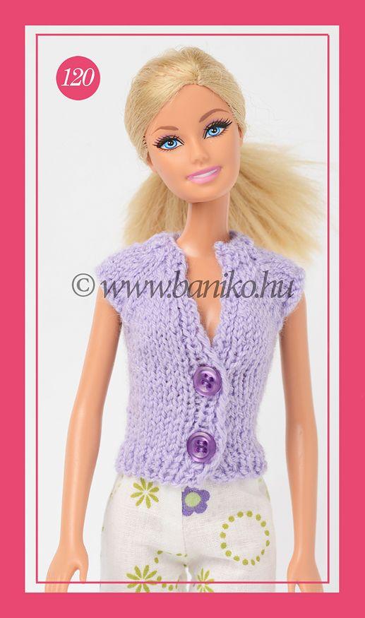 Újabb lila kötött Barbie kabátka
