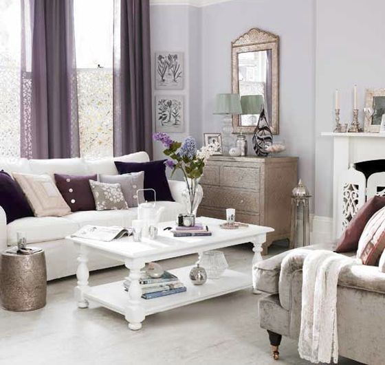 Chic living room with white, lavender, plum, gray, and silver accents.
