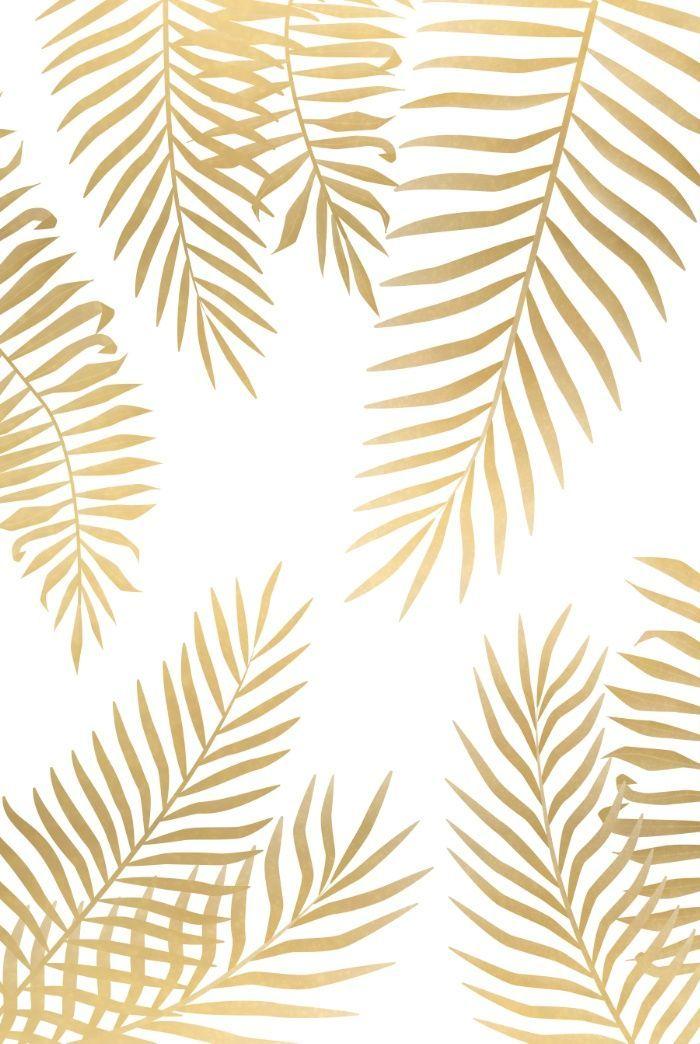 Gold palm leaves art print   iPhone wallpaper