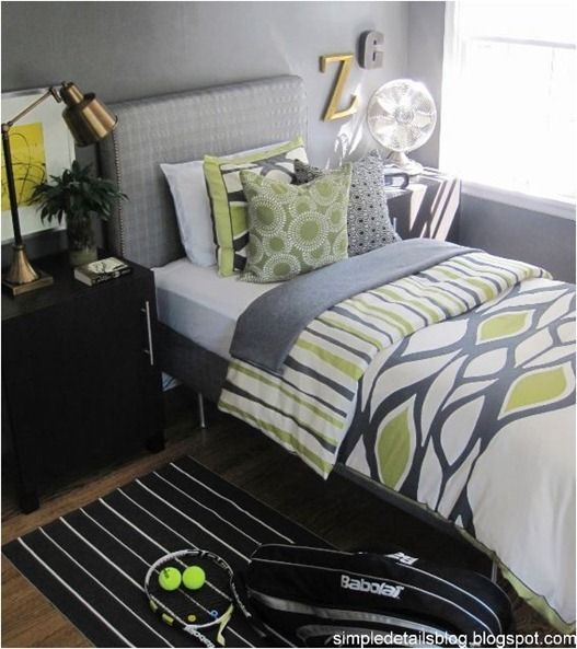 Teen S Bedroom With Feature Grey Wall And Monochrome Bed Linen: ... This Stylish Gray Plus Green Teen