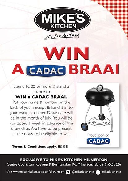 Mike's Kitchen Milnerton - Win a Cadac Braai