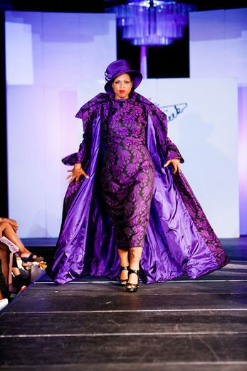 Full Figured Women Fashion Show My fav color is purple and this dress and coat and hat are fantastic!~JEN