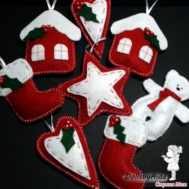 Продолжая тему подготовки к Новому году... Сшились такие игрушечки. Можно на елку, можно в виде гирлянды в качестве украшения на стену. Котейки мне понравились больше всего