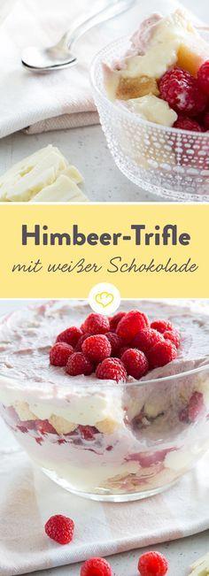 Himbeer-Trifle mit weißem Schokoladenpudding - Einmal angefangen zu löffeln, kommst du aus dem Staunen nicht mehr heraus: Jede einzelne, köstliche Schicht befördert dich ein Stückchen höher in den süßen Trifle-Himmel …